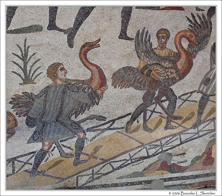 Sicily: Villa Romana Del Casale: Two Workers Unloading Ostriches From the Ship in the Corridor of the Great Hunt