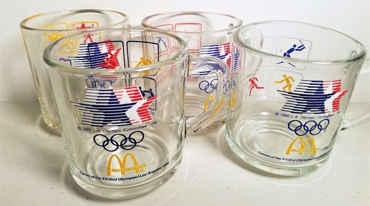 Vintage 1984 Olympics McDonald's Coffee Cups-Mugs Complete Set of 4 #McDonalds