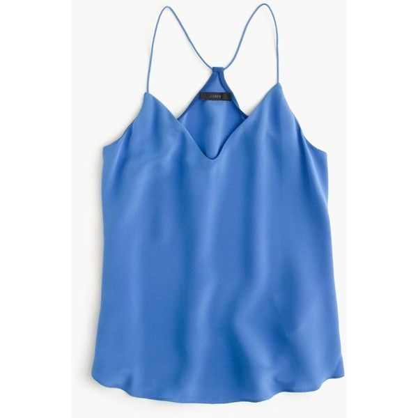 J.Crew Carrie Cami ($120) ❤ liked on Polyvore featuring silk cami, silk camisole, blue cami, j crew camisole and blue camisole