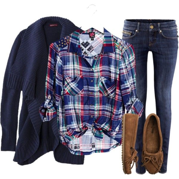 plaid shirt with chunky sweater, skinnies, and moccasins -- swap out moccasins with docs