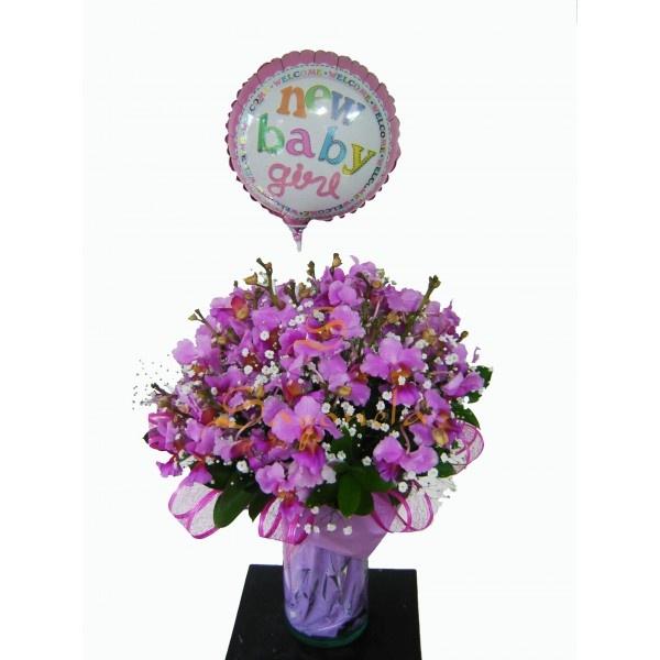 Arreglo compuesto por:        24 Varas de Orquideas, 2 a 3 flores por Vara      Globo Metalico      Base de Vidrio