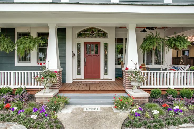 Front Porch Columns Porch Craftsman with Flowers Hanging Plants Landscaping Porch Swing Red