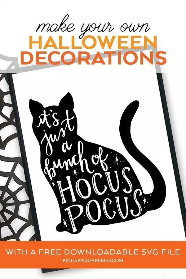 Free Hocus Pocus Svg Hocus Pocus Cat Pineapple Paper Co Halloween Stencils Hocus Pocus Cat Fall Halloween Decor