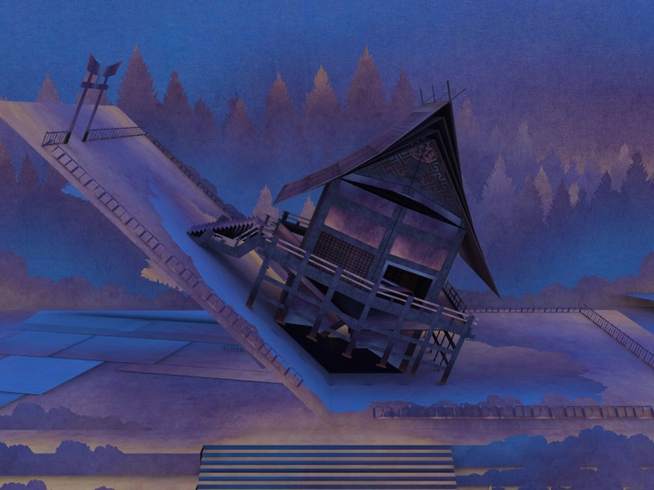 Tengami is set in a pop-up book. Here the player unfolds a shrine, by sliding their finger across the iPad screen.