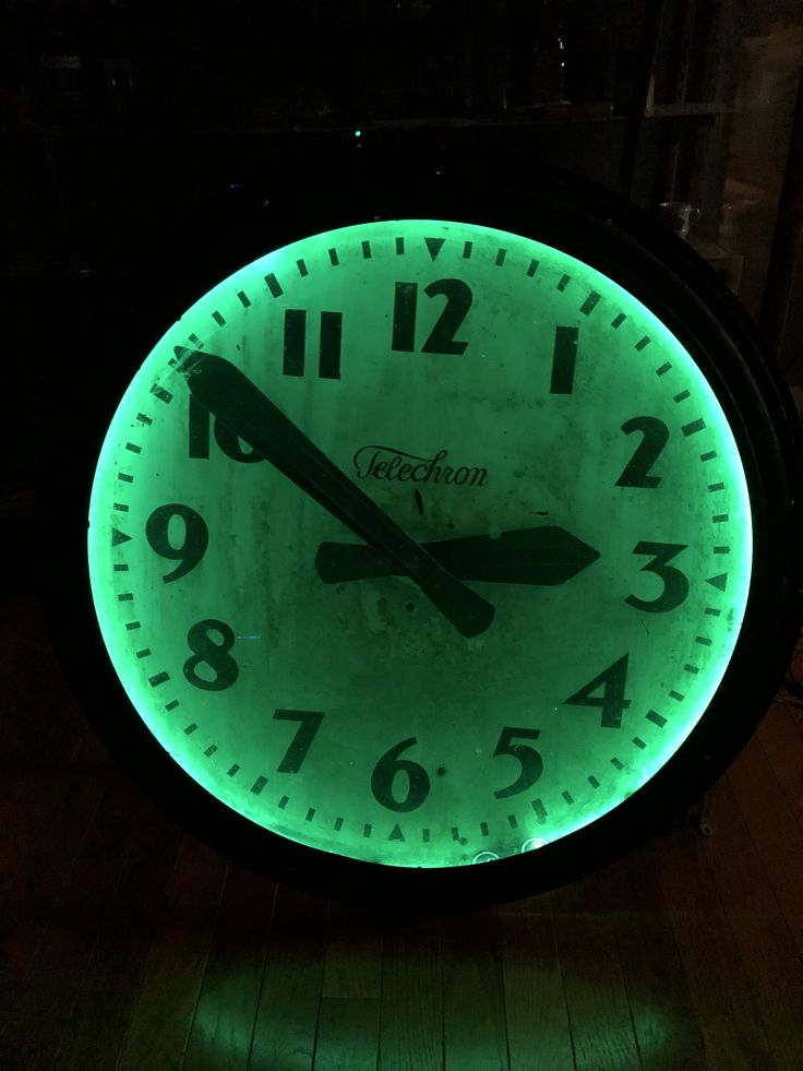 "Vintage 29"" Telechron neon clock from a school gymnasium"