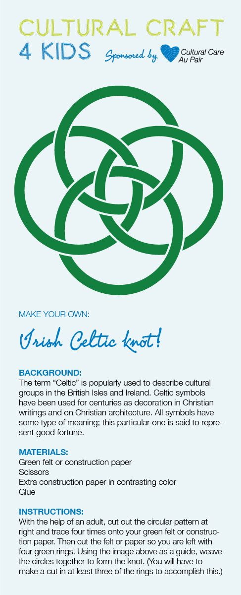 Download our Irish Celtic knit craft! http://aupairbuzz.culturalcare.com/cultural-craft-for-kids-irish-celtic-knot/