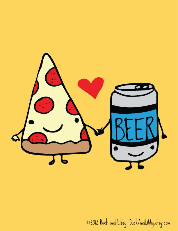 Pizza Loves Beer 8.5 x 11 Illustration Print by Buck and Libby We Belong Together series