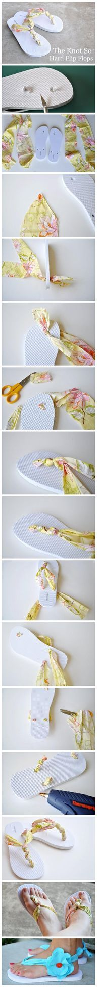 Want new, improved flip flops? How to: Cut out the straps. Get you ribbon and fold it in half (make sure it's long enough for you whole flip flop) and push some through the first hole. Tie it on the BOTTOM of the show and cut of the access. On the top of the ribbon (where it will act as the strap) tie knots until you get it where you want it then take the two ends and push through both holes and tie at the BOTTOM and cut off access. Tip: Use hot glue at the bottom to sucre the ribbon.