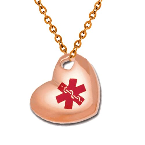 90 best medical id necklaces images on pinterest stainless steel stainless steel medical id pendant necklace rose gold puffed heart mozeypictures Choice Image