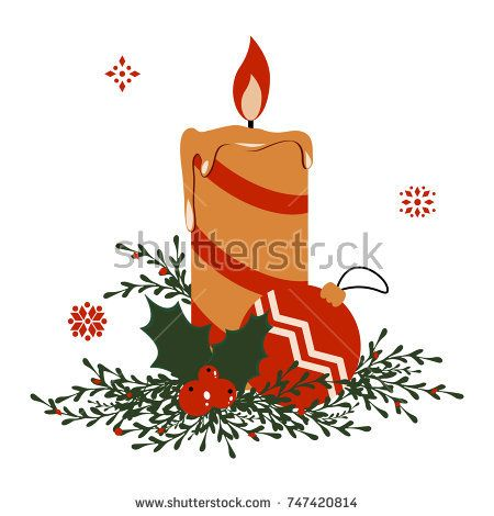 Vector Christmas candle with toy, holly greenery and snowflakes