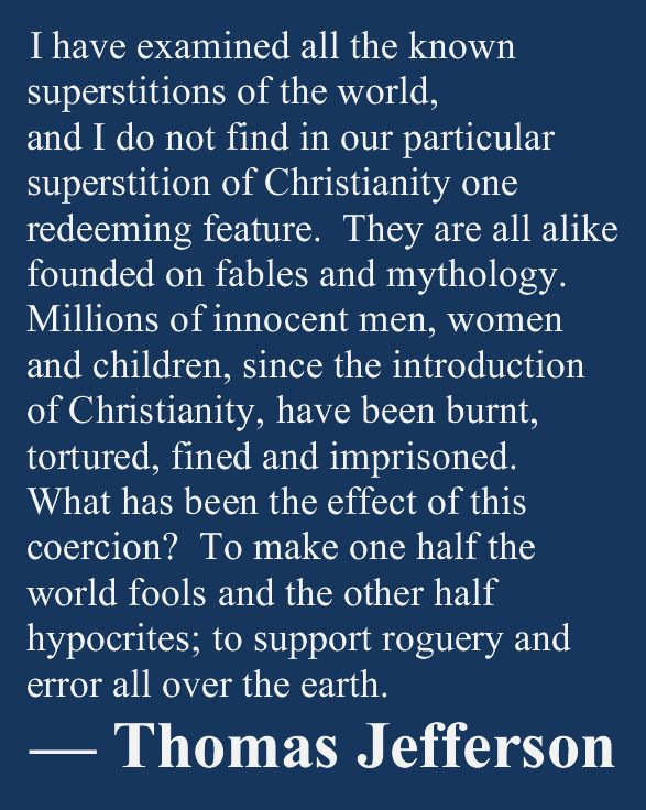 """Fake. Well, the first two sentences are fake but the second part (""""Millions of innocent men...""""), is legitimate and comes from Jefferson's Notes on the State of Virginia, Query XVII. http://www.monticello.org/site/jefferson/superstition-christianity-quotation"""