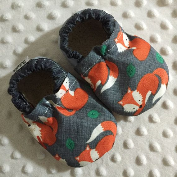 63cb02e75e5 Soft Sole Baby Shoes Booties Tula Sly Let s Get Nutty Fox on Charcoal w   Grey Heel and Denim …