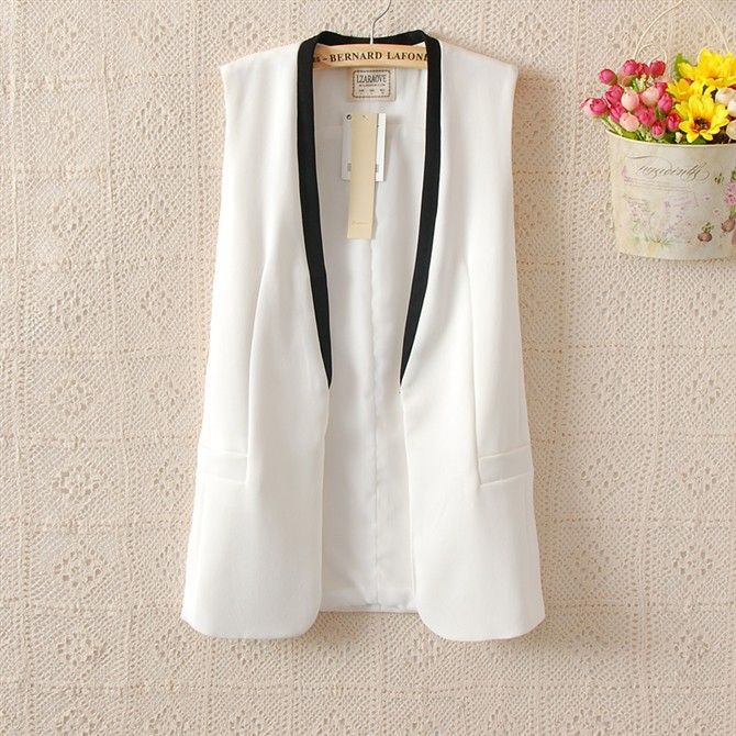 New Arrial 2014 Fashion Women's Elegant Color Block Sleevless Blazer Vest Waistcoat Black/White Color SML-in Vests & Waistcoats from Apparel...