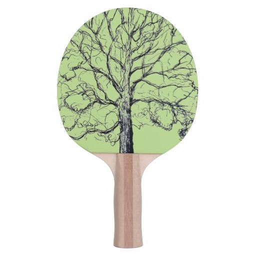 Green Sketched Tree Paddle Ping Pong Paddle