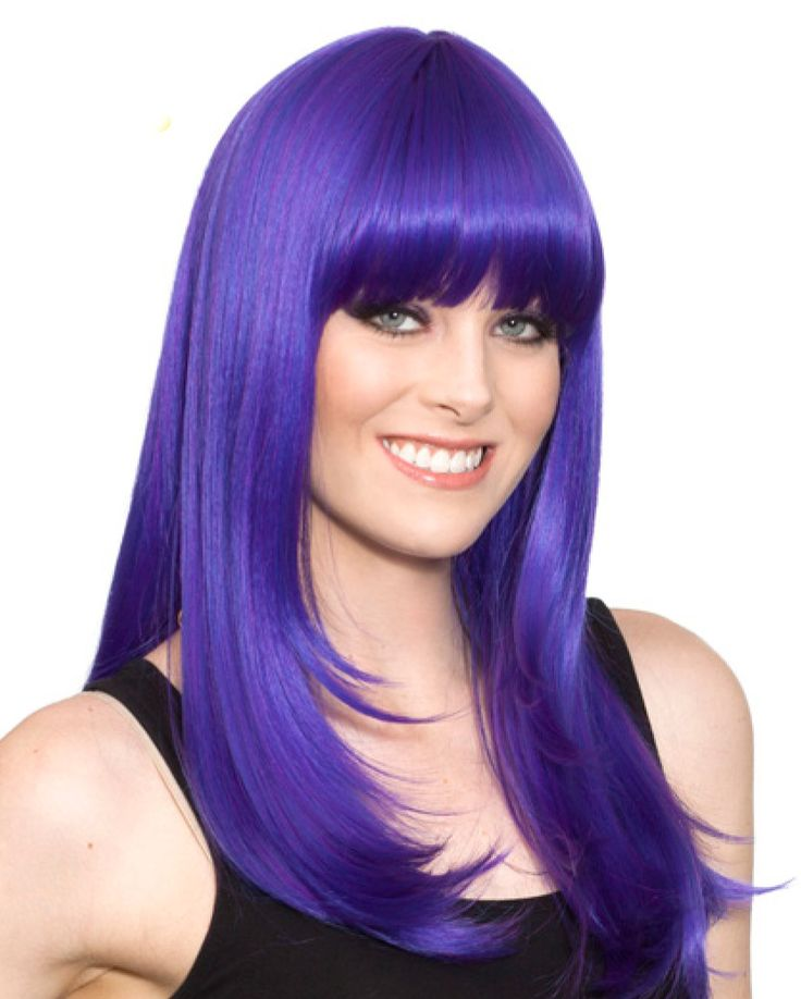 City costume wigs long purple cosplay anime wig for
