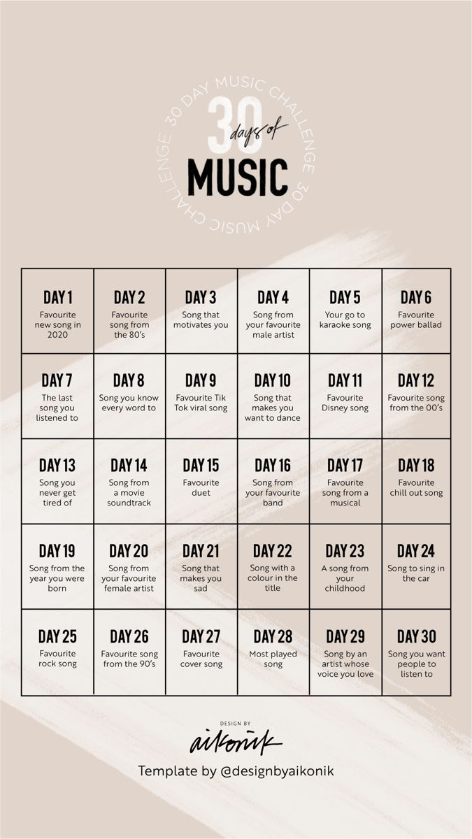 30 Days Of Music Challenge In 2020 Music Challenge Song Suggestions Music Mood
