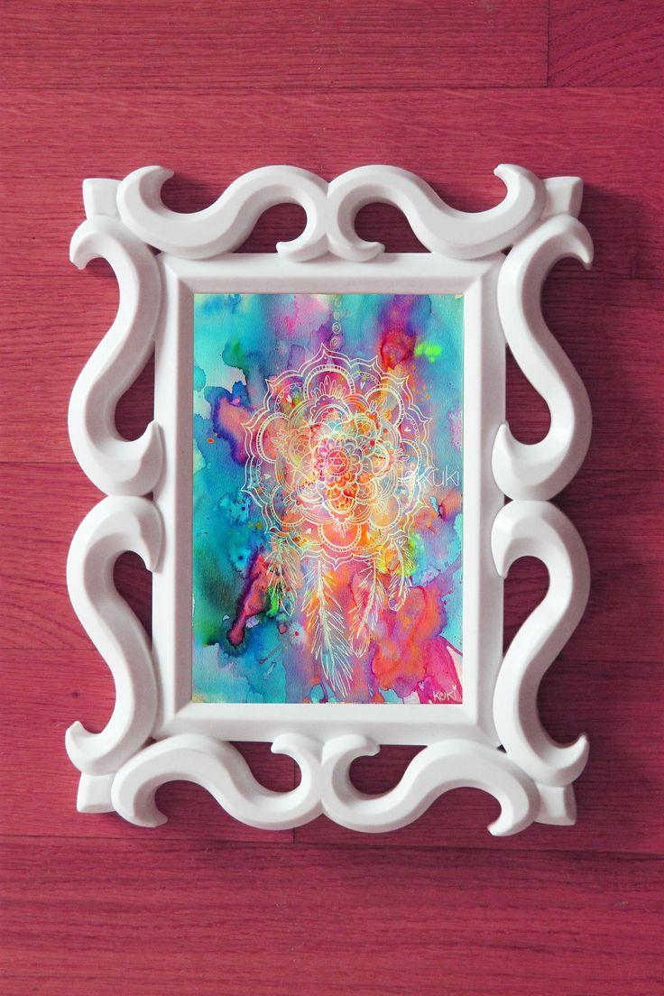 Acchiappasogni stampa acquerello, mandala con piume, stampe arcobaleno, boho prints, stampe colorate meditazione, decorazione casa di laKuki su Etsy