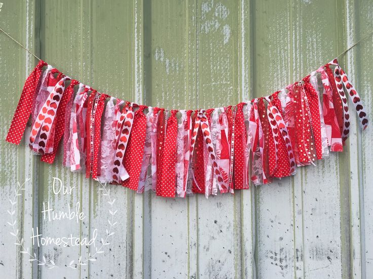 Valentine's Day Fabric Banner - Red and White Fabric Banner, Hearts, Love by OurHumbleHomestead on Etsy https://www.etsy.com/listing/263872472/valentines-day-fabric-banner-red-and