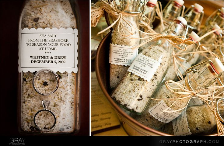 Coastal wedding venue? Take it all the way with sea salt favors for guests.