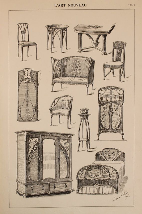 Art Nouveau Furniture Designs Large Antique Black White Print Interior Design Arts