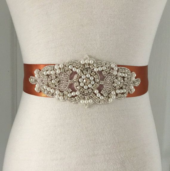 Copper Sash-Copper Belt-Rhinestone Belt-Bridal Sash-Wedding Sash-Bride Belt-Wedding Belt-Ribbon Belt-Rhinestone Pearl Applique Sash