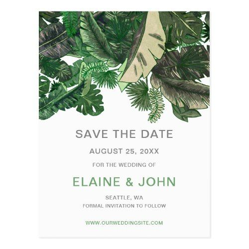 Tropical Terrain botanical Save the Date Postcard