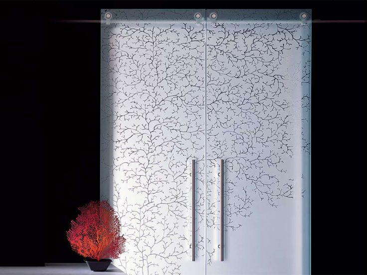 Porta scorrevole in vetro decorato senza telaio CORALLO Collezione CLASSICI by Casali