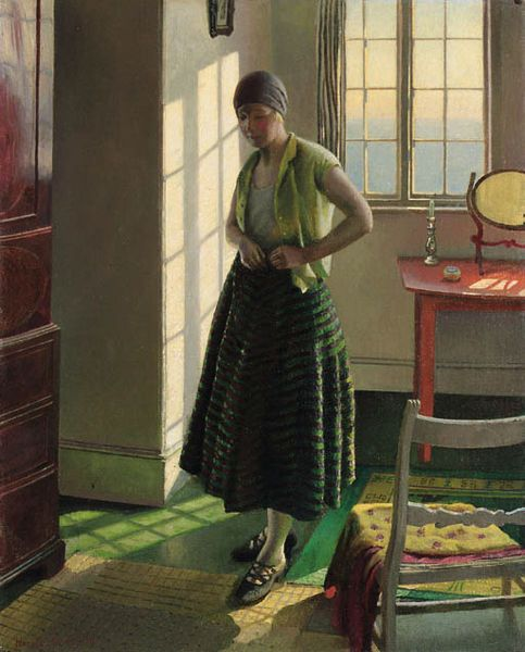 Gertrude in an Interior, 1929 by Harold Harvey (1874-1941)