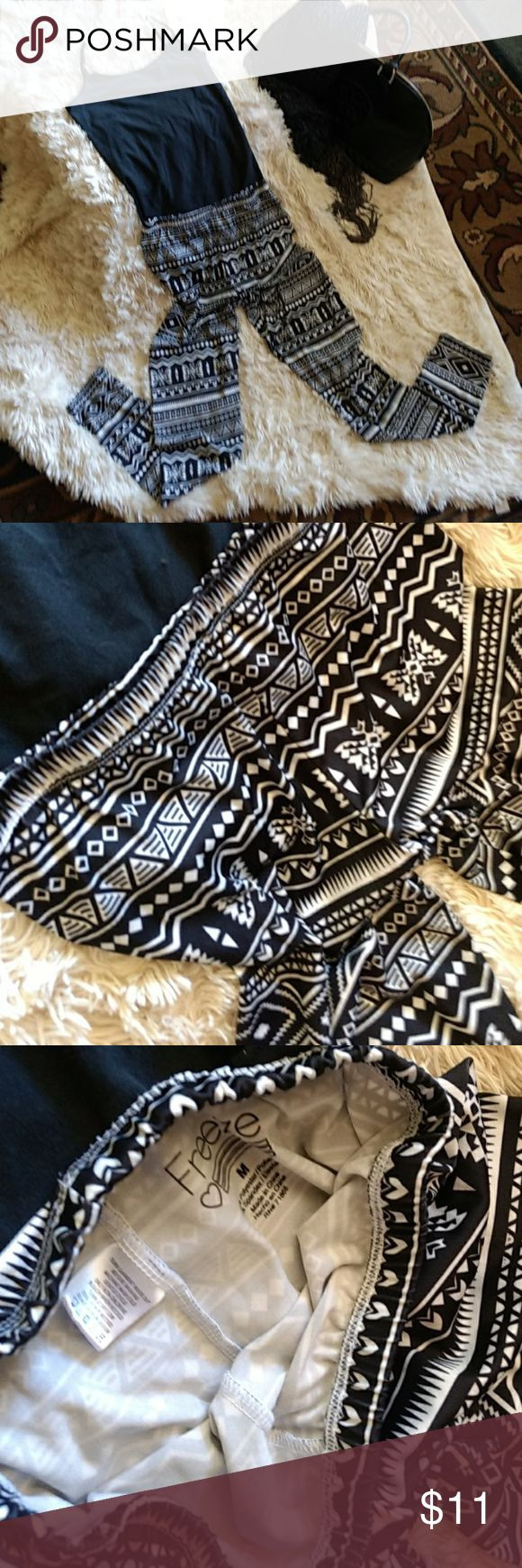 Freeze Aztec legging made of polyester & spandex   They are blackb& white & can be worn dressy with heels & silk top or, casual with flats & tee.  They are lined so, no see thru & truly comfortable as I wore them twice on vacation.😍😍😍🤗🤗🤗🤗🤗😍😍😍😍🤗🤗 Freeze Pants Leggings