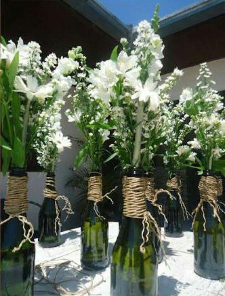 decoracao casamento garrafas de vidro:ideias sobre Garrafas Decoradas Para Casamento no Pinterest
