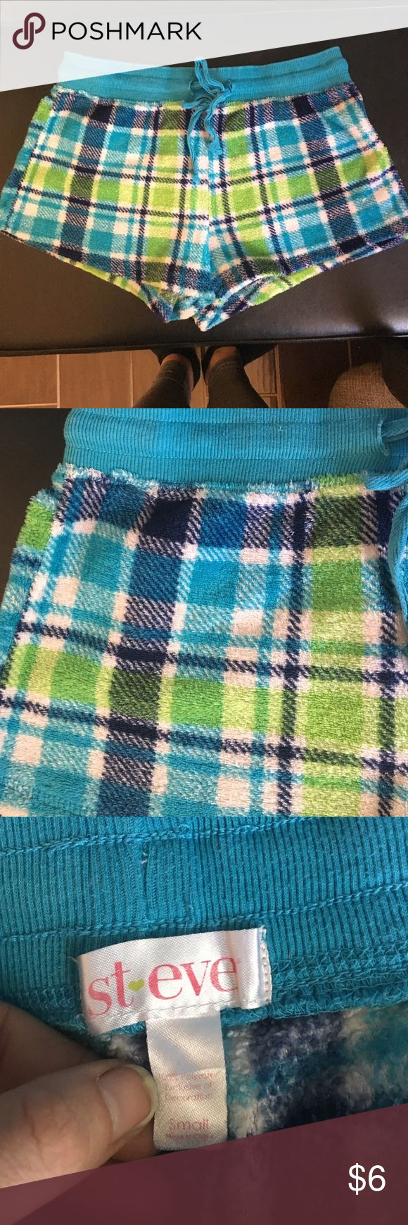 ST. EVE size S fleece pj shorts ST. EVE size S fleece pj shorts. Plaided with blues, green & white. Jaw-string around waist to tighten as needed. st eve Intimates & Sleepwear Pajamas