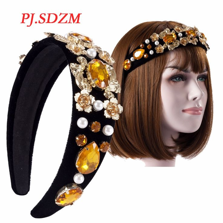 >> Click to Buy << PJ.SDZM Headwear Girl Baroque Pearl Rhinestone Metal Flower Hairbands Bridal Wedding Crystal Headbands Vintage Hair Accessory #Affiliate