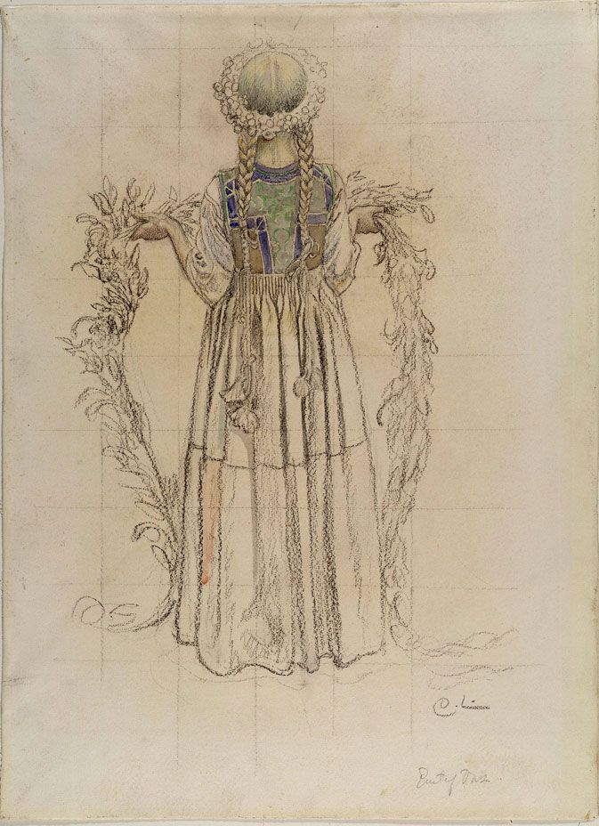 The full drawing of 'Girl With Garland' by Carl Larsson.