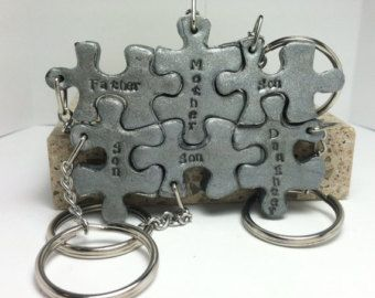 Puzzle Pieces Interlocking Family Key chains Polymer Clay- 6 Key chains or Necklaces personalized, made to order