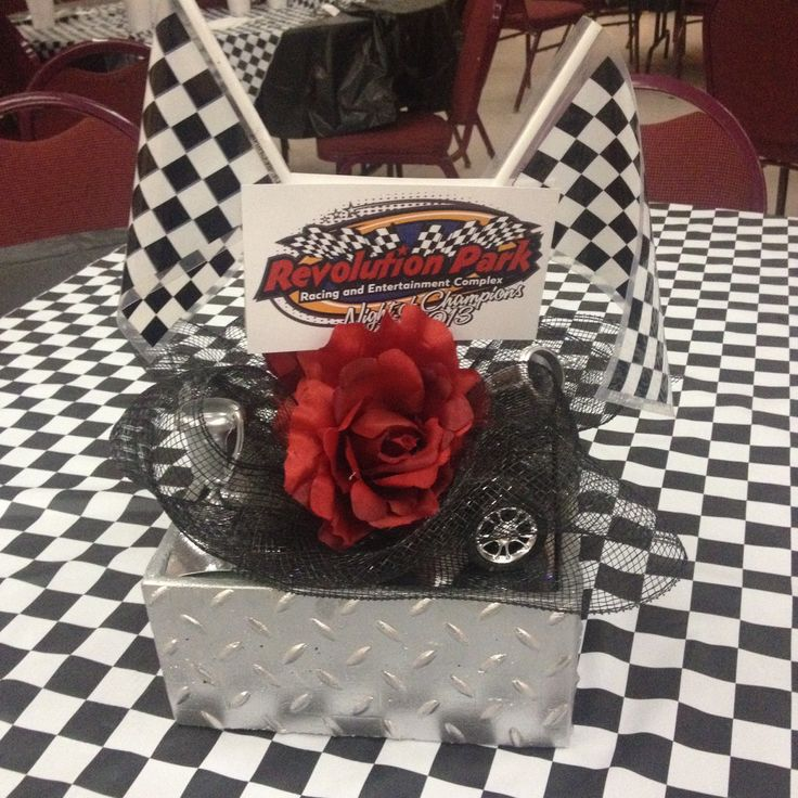 Racing Theme Centerpiece Made By Original Pinner