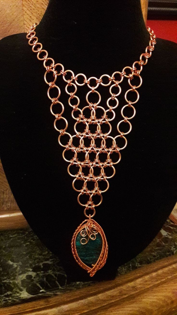 Chrysocolla in Blue & Green Wire-wrapped Stone Chainmail by ExceptionalDesigns13 on Etsy
