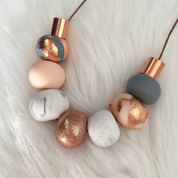 Polymer clay bead necklace. Marble copper grey nude and by RafHop