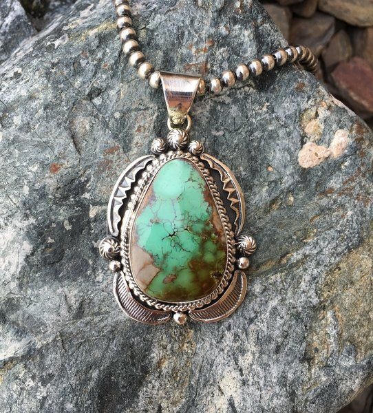 Fancy Sterling Silver Green Royston Turquoise Pendant