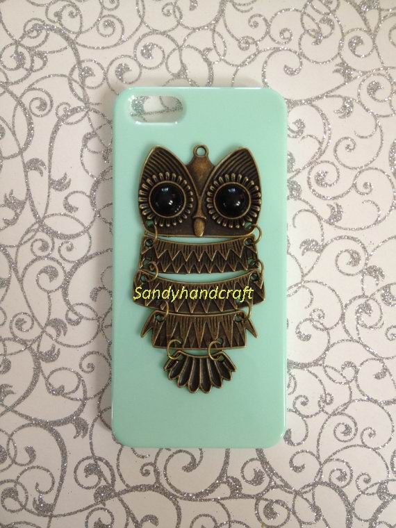 My Future Phone by Maddie on Etsy. Owl. Mint. Brass. iPhone. Phone case. Cute