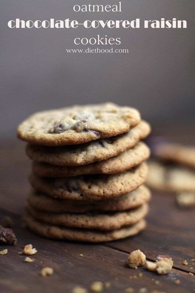 Oatmeal Chocolate-Covered Raisin Cookies Recipe: Soft and chewy oatmeal cookies packed with chocolate-covered raisins.