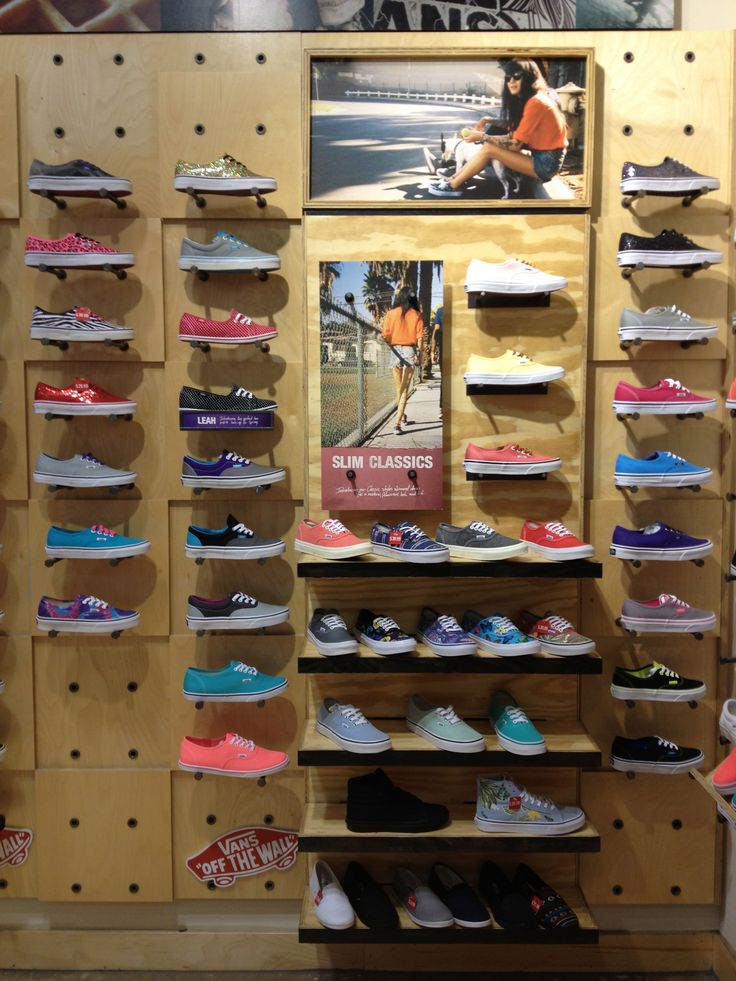 Vans store wall of shoes - easily done with pegboards  I so need like almost all of these!!!!!