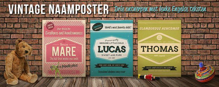 Vintage naam poster voor elke kinderkamer, Koenmeloen