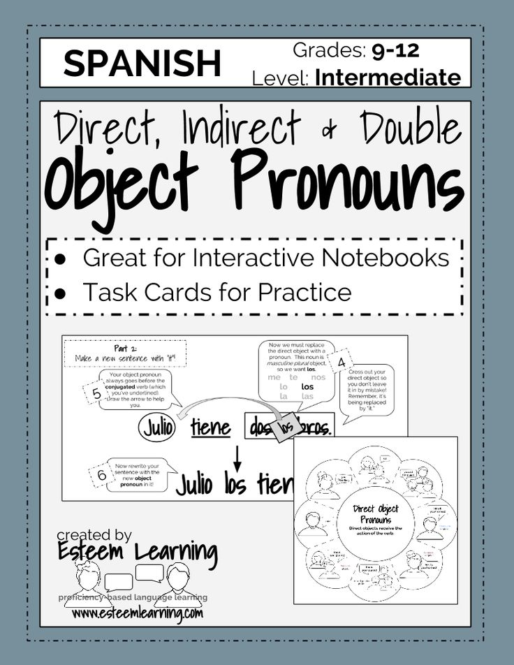 Task Cards and INB Notes for Direct, Indirect and Double Object Pronouns in Spanish