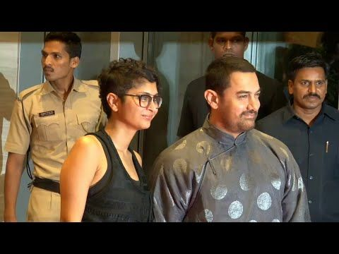 Aamir Khan with wife Kiran Rao at PK movie's success party.