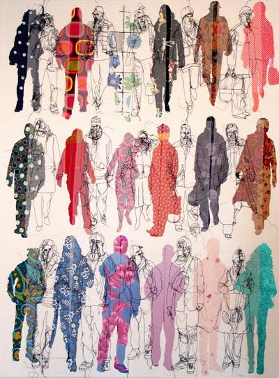 Rosie James textile designer - I admire her highly textural, embroidered juxtapositions and the variety of colour tones, layers of imagery and patterns. An intriguing, complimentary contrast is evoked.