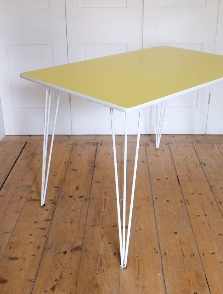 Paul Bridston; Warelite Laminate, Plywood and Enameled Metal Table for Kandya, 1950s.