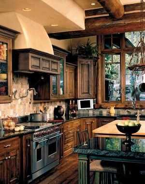 French-country inspired kitchen.Ideas, Cabinets Colors, Dreams Kitchens, Timber Home, Rustic Looks, Rustic Kitchens, Cozy Kitchens, House, Stainless Steel
