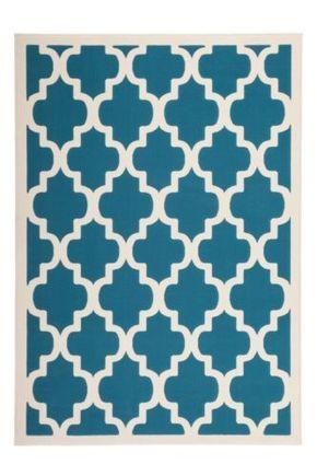 Designer-Teppich-Tuerkis-Weiss-Geometrisch-Kurzflor-Teppich-Retro-70er-Vintage