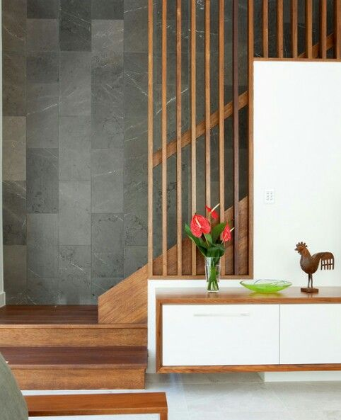 Handrail and timber screen