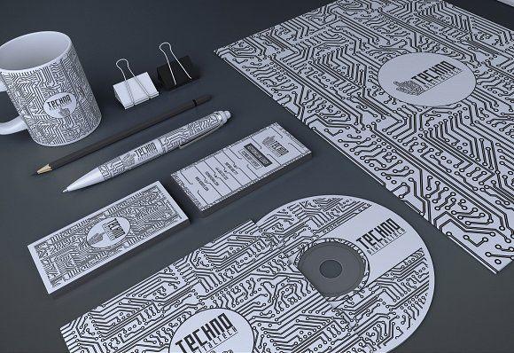 Techno Business Branding Identity by EVNY on @creativemarket